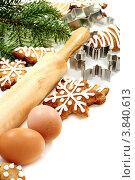 Купить «Рождественское имбирное печенье, яйца, скалка и формы для печенья», фото № 3840613, снято 16 сентября 2012 г. (c) Марина Сапрунова / Фотобанк Лори