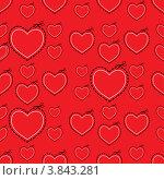 Бесшовный красный фон с сердцами-шаблонами. Стоковая иллюстрация, иллюстратор Michael Travers / Фотобанк Лори