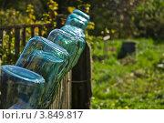 Банки емкостью три литра перевернуто висят на заборе. Стоковое фото, фотограф Евгений Егоров / Фотобанк Лори