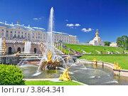 Купить «Большой Каскадный фонтан в Петергофе, Санкт-Петербург, Россия», фото № 3864341, снято 15 августа 2018 г. (c) Vitas / Фотобанк Лори