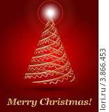 Новогодняя красная открытка с абстрактной елкой. Стоковая иллюстрация, иллюстратор Чичина Марина / Фотобанк Лори
