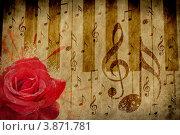 Купить «Фон с розой и нотами», иллюстрация № 3871781 (c) Анна Павлова / Фотобанк Лори