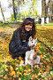 Девушка с щенком собаки породы сибирский хаски (siberian husky) в осеннем парке, фото № 3872261, снято 22 сентября 2012 г. (c) ElenArt / Фотобанк Лори