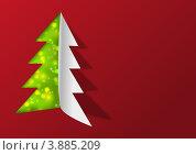 Купить «Бумажный фон с елкой», иллюстрация № 3885209 (c) Евгения Малахова / Фотобанк Лори