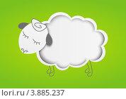 Купить «Бумажная овечка на зеленом фоне», иллюстрация № 3885237 (c) Евгения Малахова / Фотобанк Лори
