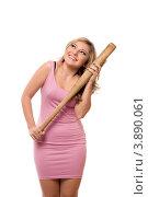 Купить «Девушка в розовом платье держит биту на белом фоне», фото № 3890061, снято 25 декабря 2010 г. (c) Сергей Сухоруков / Фотобанк Лори