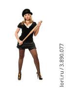 Купить «Серьезная молодая блондинка держит биту», фото № 3890077, снято 25 декабря 2010 г. (c) Сергей Сухоруков / Фотобанк Лори