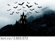 Купить «Хэллоуин. Ночь. Дом в горах и летучие мыши», иллюстрация № 3893573 (c) ElenArt / Фотобанк Лори