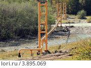 Строительство горного курорта «Архыз» в КЧР. Прокладка газопровода через горную реку. Стоковое фото, фотограф Rekacy / Фотобанк Лори