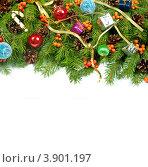 Новогодний фон с хвойными ветвями и елочными украшениями. Стоковое фото, фотограф Сергей Фигурный / Фотобанк Лори