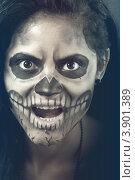Грим черепа на Хэллоуин. Стоковое фото, фотограф Сергей Фигурный / Фотобанк Лори