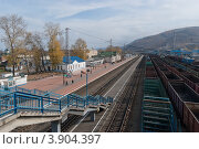 Железнодорожная станция. Город Слюдянка, Иркутская область (2012 год). Стоковое фото, фотограф Виталий Штырц / Фотобанк Лори