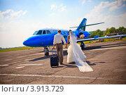Купить «Жених и невеста отправляются в медовый месяц на самолете», фото № 3913729, снято 28 мая 2011 г. (c) Оксана Ковач / Фотобанк Лори