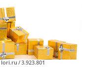 Купить «Золотые коробки с серебренной ленточкой на праздник в подарок», фото № 3923801, снято 18 августа 2012 г. (c) Tatjana Romanova / Фотобанк Лори