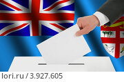 Купить «Рука опускает избирательный бюллетень в урну на фоне флага Фиджи», иллюстрация № 3927605 (c) Александр Макаров / Фотобанк Лори