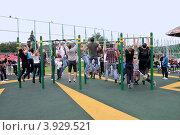 Купить «Street Workout. Массовое подтягивание на турнике», эксклюзивное фото № 3929521, снято 1 сентября 2012 г. (c) Илюхина Наталья / Фотобанк Лори