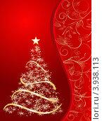 Стилизованная рождественская ель на красном фоне. Стоковая иллюстрация, иллюстратор Чичина Марина / Фотобанк Лори