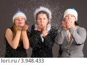 Купить «Девушки сдувают снежинки с рук», фото № 3948433, снято 11 декабря 2011 г. (c) Сергей Петерман / Фотобанк Лори