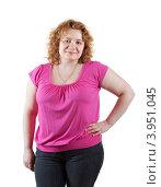 Полная женщина в розовой блузке на белом фоне. Стоковое фото, фотограф Яков Филимонов / Фотобанк Лори