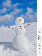 Купить «Снеговик в ясный солнечный день», фото № 3951905, снято 20 января 2012 г. (c) ElenArt / Фотобанк Лори