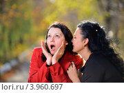 Сплетницы. Женщина рассказывает что-то удивительное на ухо подруге. Стоковое фото, фотограф Сергей Галушко / Фотобанк Лори