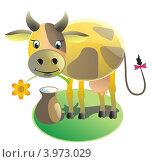 Корова и молоко. Стоковая иллюстрация, иллюстратор Якунин Алексей / Фотобанк Лори