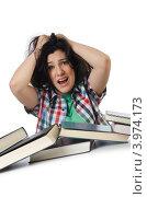 Купить «Подготовка в экзамены. Девушка сидит перед кучей книг и держится руками за голову», фото № 3974173, снято 31 мая 2012 г. (c) Elnur / Фотобанк Лори