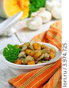 Купить «Мясо, тушенное с грибами и тыквой», фото № 3974725, снято 29 октября 2012 г. (c) Надежда Мишкова / Фотобанк Лори