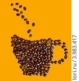 Кофейная чашка из зерен на светло коричневом фоне. Стоковое фото, фотограф Дмитрий Краснов / Фотобанк Лори