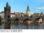 Купить «Карлов мост в Праге летним вечером, Чехия», фото № 3984981, снято 20 сентября 2012 г. (c) Михаил Марковский / Фотобанк Лори
