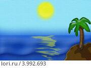 Море и пальма. Стоковая иллюстрация, иллюстратор Марина К. / Фотобанк Лори
