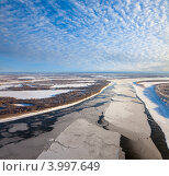 Купить «Большая равнинная река во время ледохода. Вид сверху.», фото № 3997649, снято 5 ноября 2012 г. (c) Владимир Мельников / Фотобанк Лори