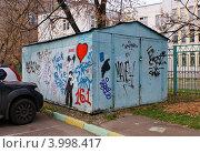 Купить «Разукрашенный металлический гараж», фото № 3998417, снято 27 октября 2012 г. (c) Павел Кричевцов / Фотобанк Лори