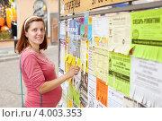 Купить «Женщина у стенда с объявлениями», эксклюзивное фото № 4003353, снято 25 июля 2012 г. (c) Яков Филимонов / Фотобанк Лори