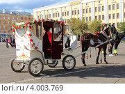 Карета с лошадью на площади города (2012 год). Редакционное фото, фотограф Попова Ольга / Фотобанк Лори