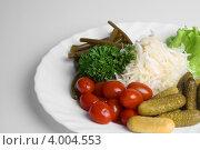 Тарелка с солеными огурцами, красными помидорами и зеленью. Стоковое фото, фотограф Мария Егунева / Фотобанк Лори