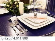 Купить «Сервированный стол», фото № 4011889, снято 9 ноября 2012 г. (c) Екатерина Афанасьева / Фотобанк Лори