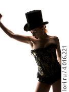 Купить «Силуэт стройной девушки в корсете и цилиндре на белом фоне», фото № 4016221, снято 30 сентября 2009 г. (c) Syda Productions / Фотобанк Лори