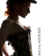Купить «Силуэт женщины в цилиндре и корсете на белом фоне», фото № 4016653, снято 30 сентября 2009 г. (c) Syda Productions / Фотобанк Лори