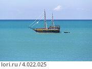 Купить «Черная яхта «Джон Сильвер» плывет вдоль берега Черного моря», фото № 4022025, снято 31 августа 2012 г. (c) Владимир Сергеев / Фотобанк Лори