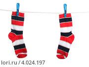 Купить «Разноцветные полосатые носки, висящие на бельевой веревке», фото № 4024197, снято 16 марта 2012 г. (c) Paleka / Фотобанк Лори