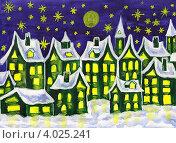 Купить «Город из сновидений, в зелёных тонах, рождественская открытка», иллюстрация № 4025241 (c) ИВА Афонская / Фотобанк Лори