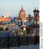 Купить «Москва. Рассвет на Патриаршем мосту», фото № 4030657, снято 28 марта 2020 г. (c) Юрий Кирсанов / Фотобанк Лори