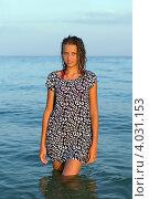 Купить «Девушка подросток в мокром платье в море», фото № 4031153, снято 11 июля 2011 г. (c) Сергей Сухоруков / Фотобанк Лори