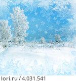 Купить «Новогодняя открытка, зимний пейзаж с большими белыми снежинками», иллюстрация № 4031541 (c) ElenArt / Фотобанк Лори