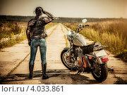 Девушка байкер и мотоцикл. Стоковое фото, фотограф Андрей Армягов / Фотобанк Лори