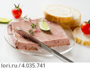 Купить «Паштет из печени, нож и ломтики хлеба на столе», фото № 4035741, снято 17 апреля 2012 г. (c) Tatjana Baibakova / Фотобанк Лори