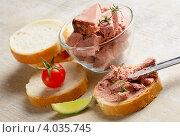 Купить «Паштет из печени и ломтики хлеба на столе», фото № 4035745, снято 17 апреля 2012 г. (c) Tatjana Baibakova / Фотобанк Лори