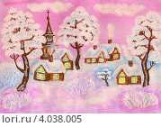 Купить «Рождественская открытка, зимний пейзаж в розовых тонах, использованы акварель, гуашь, акрил», иллюстрация № 4038005 (c) ИВА Афонская / Фотобанк Лори