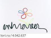 Цветок и трава сложенные из разноцветных шерстяных ниток. Стоковое фото, фотограф Инна Шевелёва / Фотобанк Лори